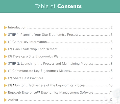 Table of Contents for Ergonomics Process Planning Guide