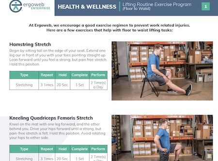 snapshot from Ergoweb's floor-to-waist lifting exercise guide